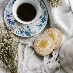 Lemon Coconut Cookies with Teacup